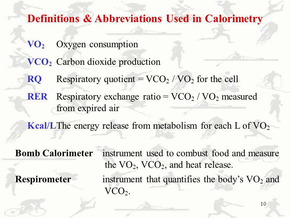 Definitions & Abbreviations Used in Calorimetry