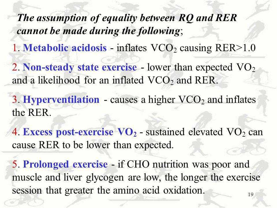 The assumption of equality between RQ and RER cannot be made during the following;