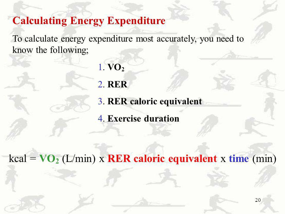 kcal = VO2 (L/min) x RER caloric equivalent x time (min)