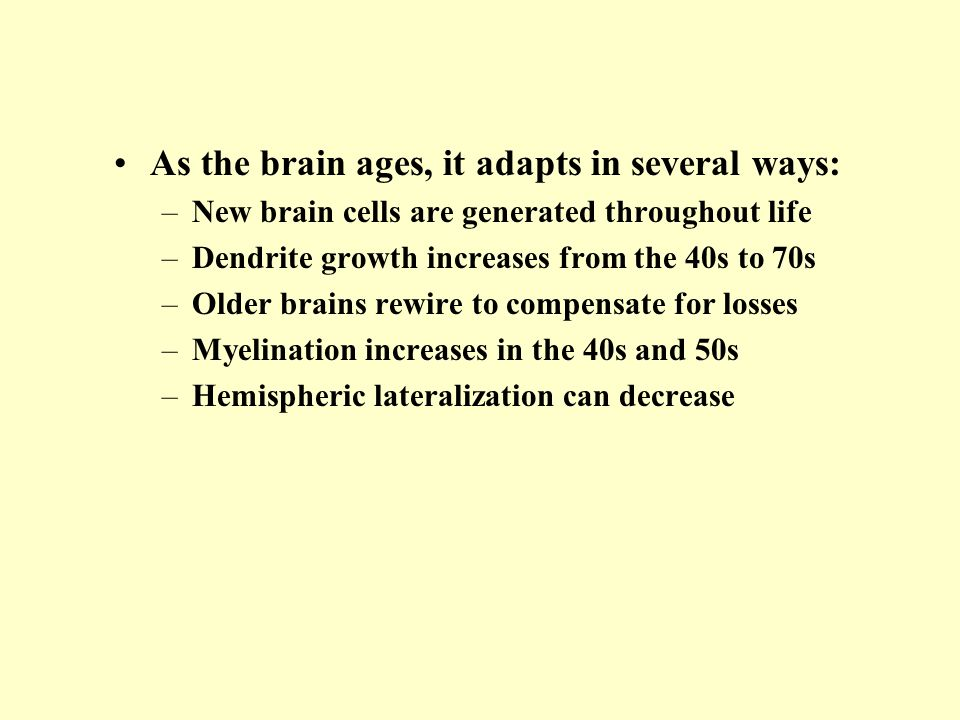 As the brain ages, it adapts in several ways: