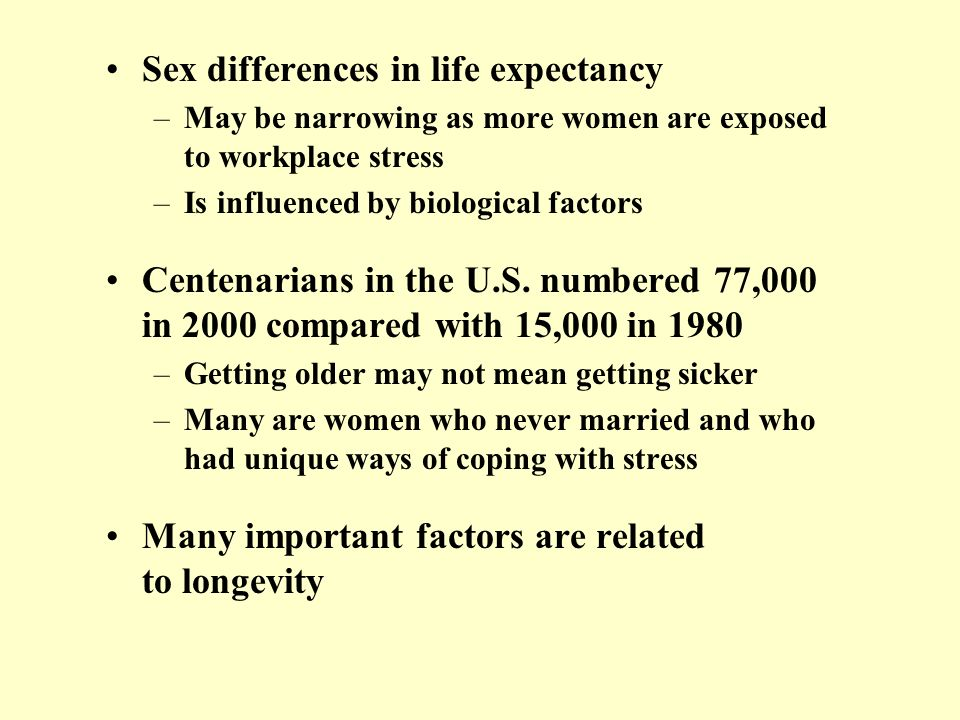 Sex differences in life expectancy