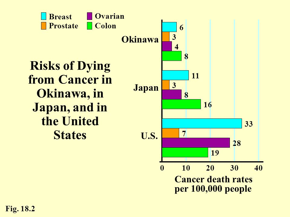 20 30. 40. 10. Cancer death rates per 100,000 people. U.S. Okinawa. Japan. Colon. Breast. Prostate.