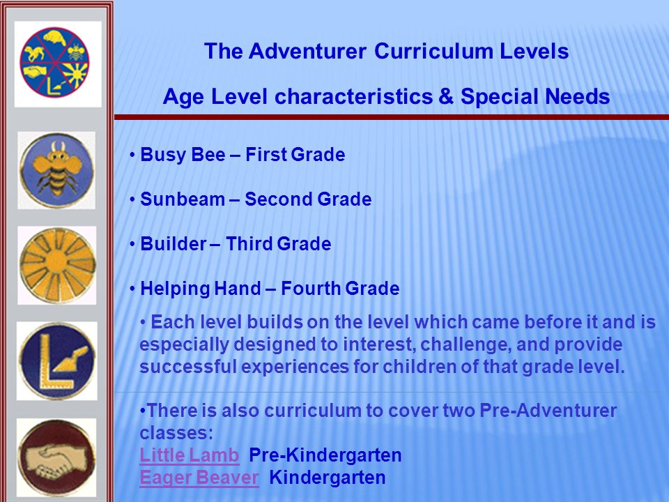 The Adventurer Curriculum Levels