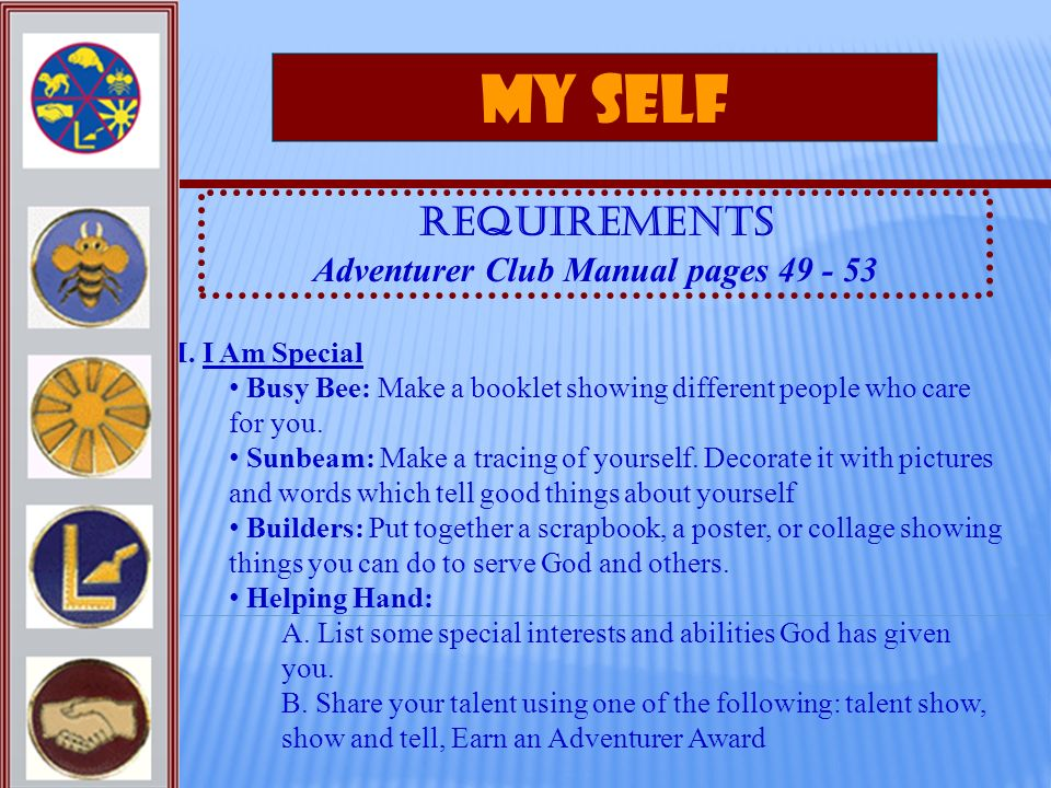 Adventurer Club Manual pages