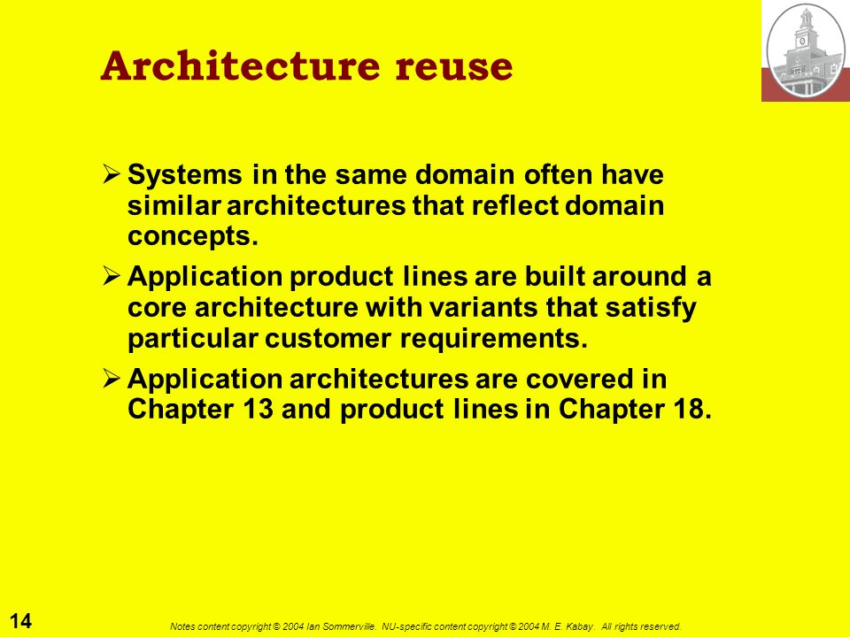 Architecture reuse Systems in the same domain often have similar architectures that reflect domain concepts.