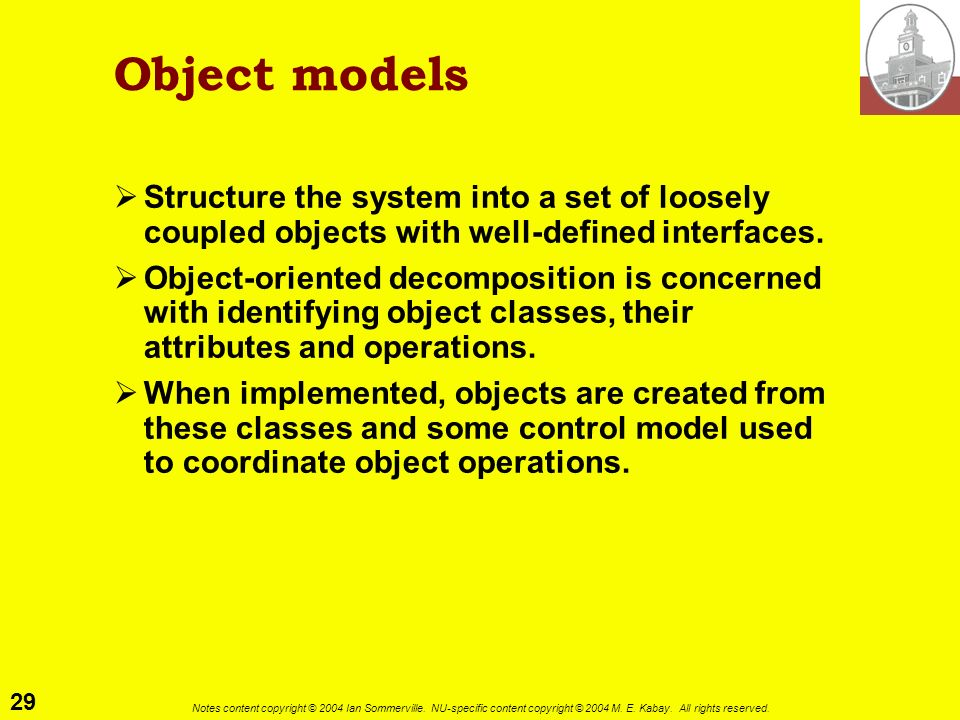 Object models Structure the system into a set of loosely coupled objects with well-defined interfaces.