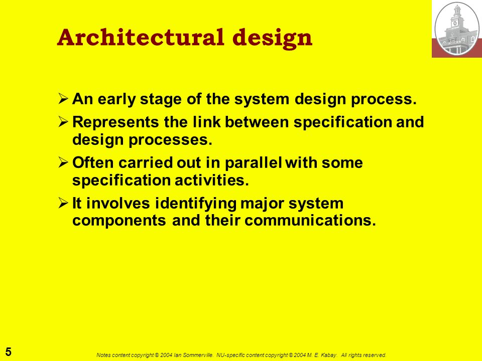 Architectural design An early stage of the system design process.