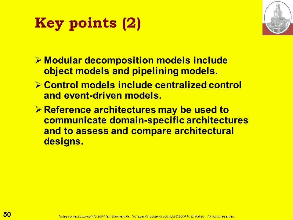 Key points (2) Modular decomposition models include object models and pipelining models.