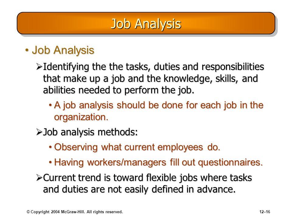 Job Analysis Job Analysis