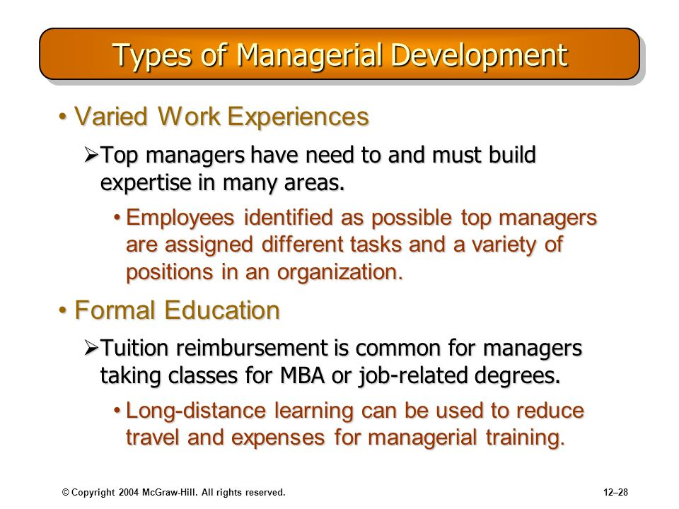 Types of Managerial Development