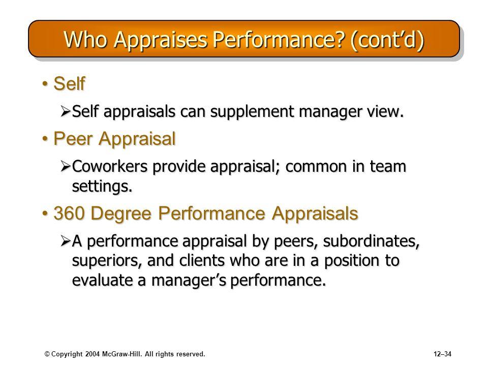Who Appraises Performance (cont'd)
