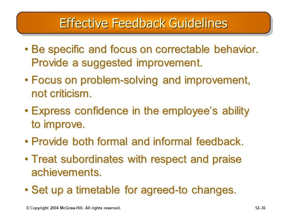 Effective Feedback Guidelines