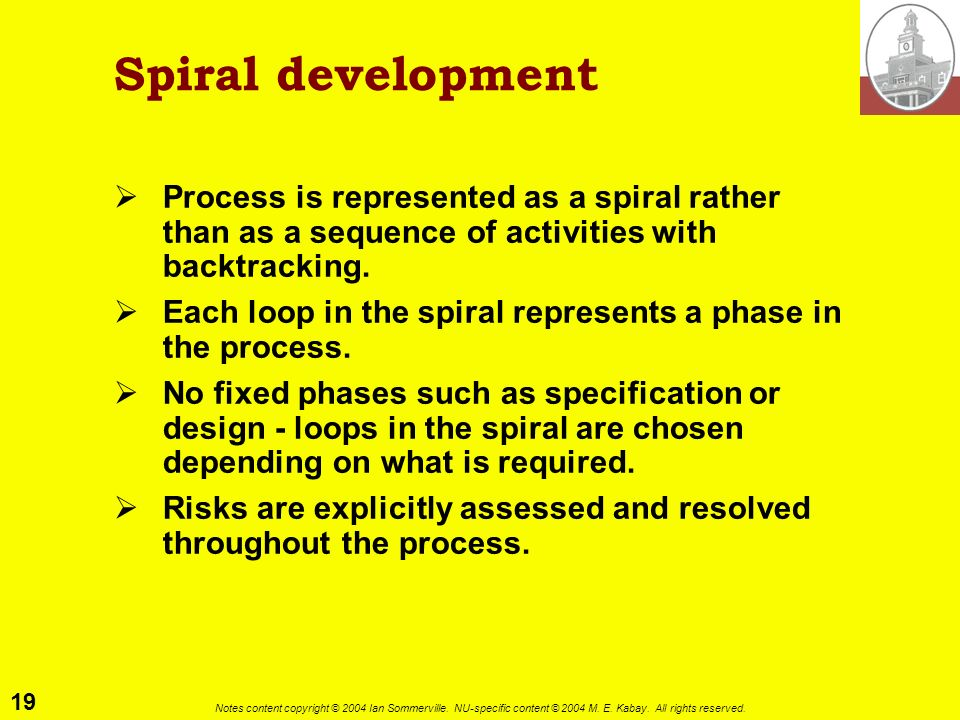 Spiral development Process is represented as a spiral rather than as a sequence of activities with backtracking.