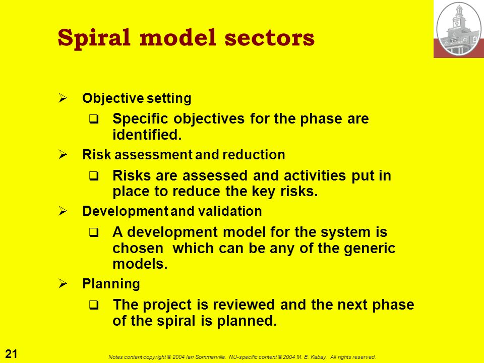 Spiral model sectors Specific objectives for the phase are identified.