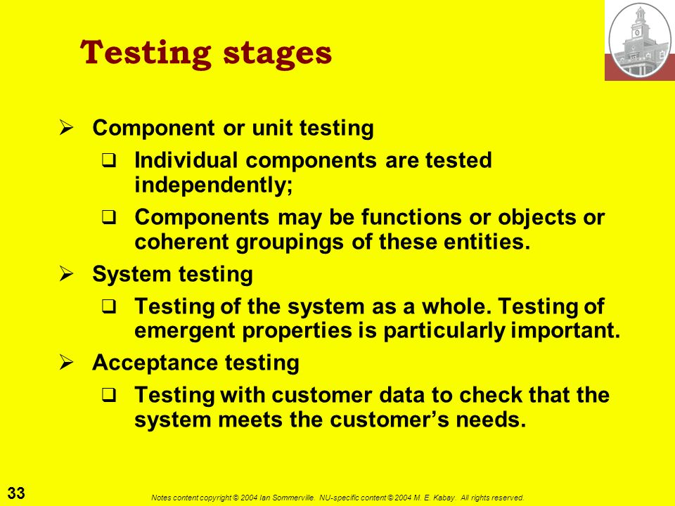 Testing stages Component or unit testing