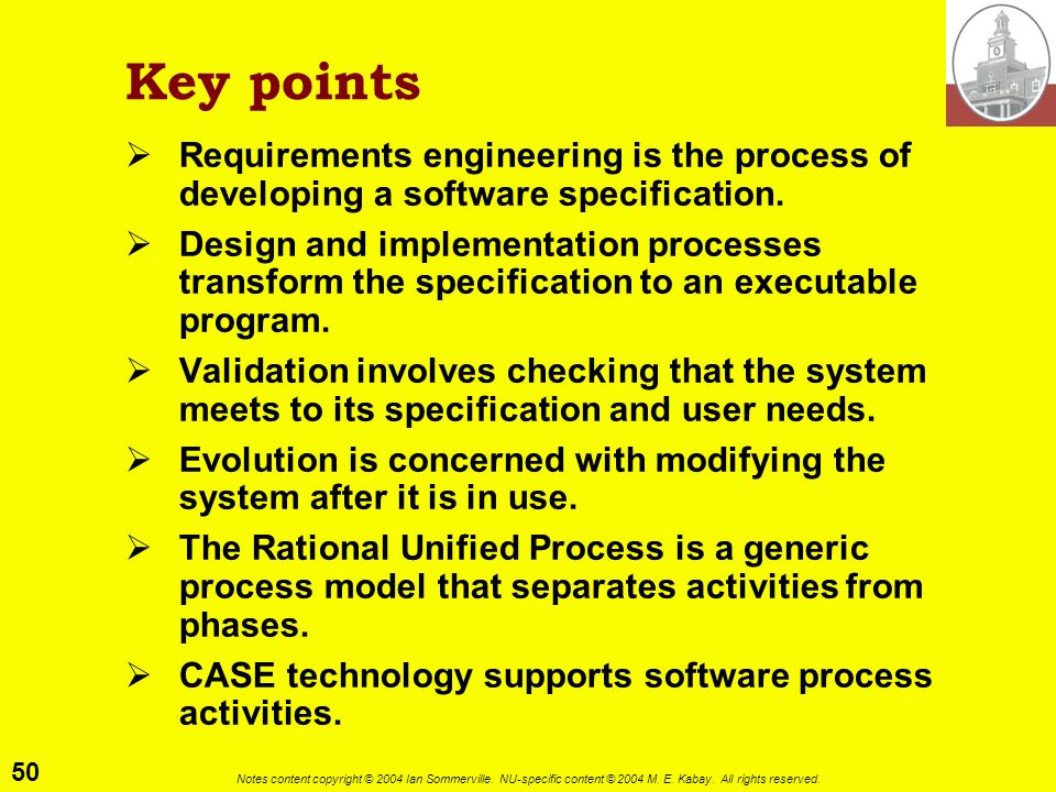 Key points Requirements engineering is the process of developing a software specification.