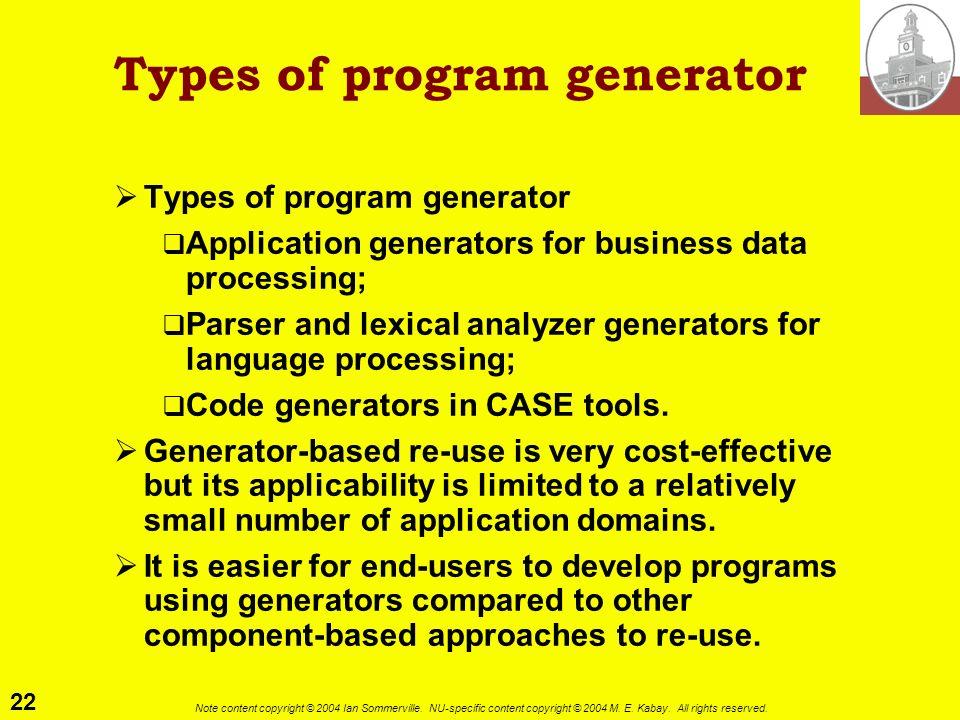 Types of program generator