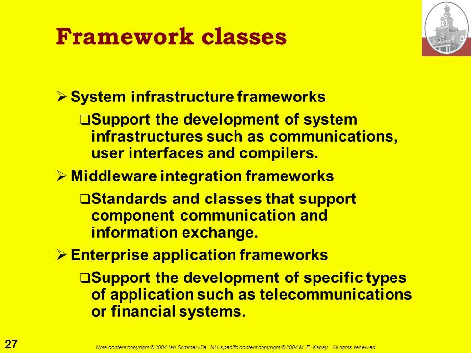 Framework classes System infrastructure frameworks