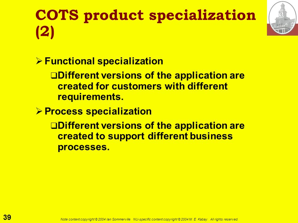 COTS product specialization (2)