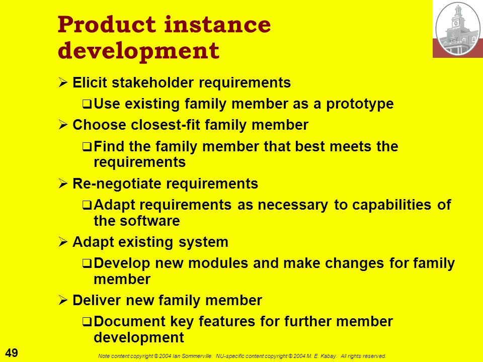 Product instance development