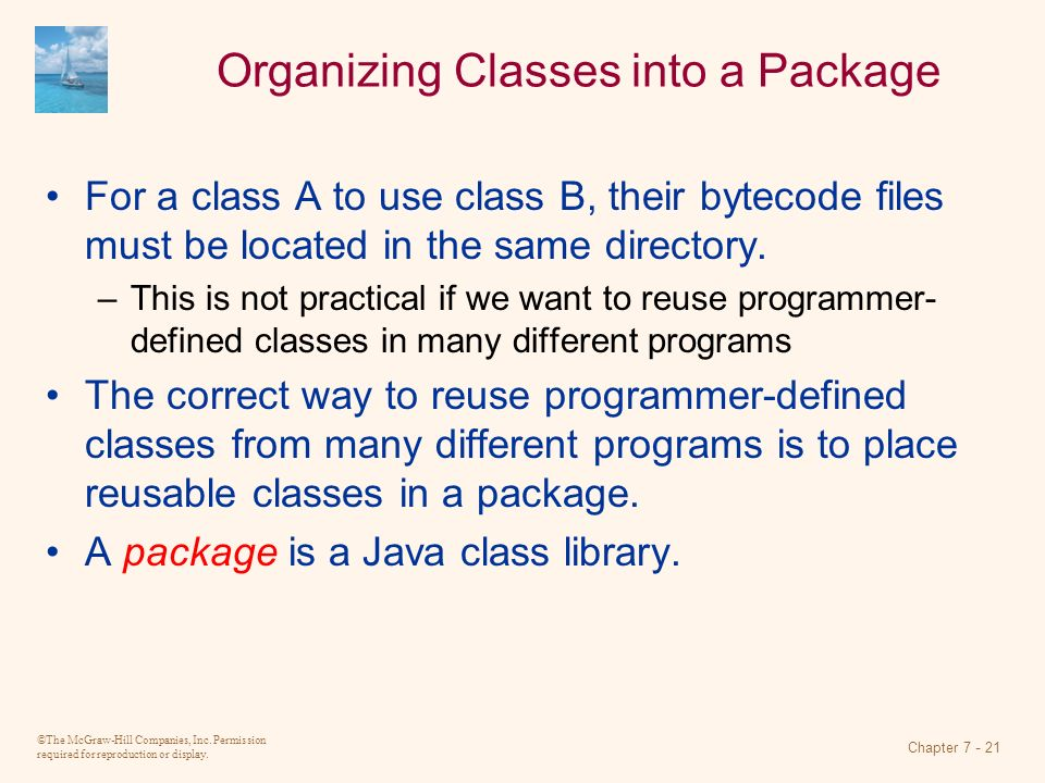 Organizing Classes into a Package