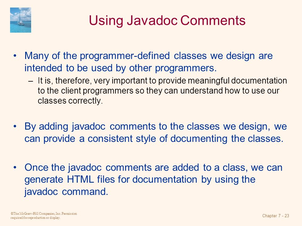 Using Javadoc Comments