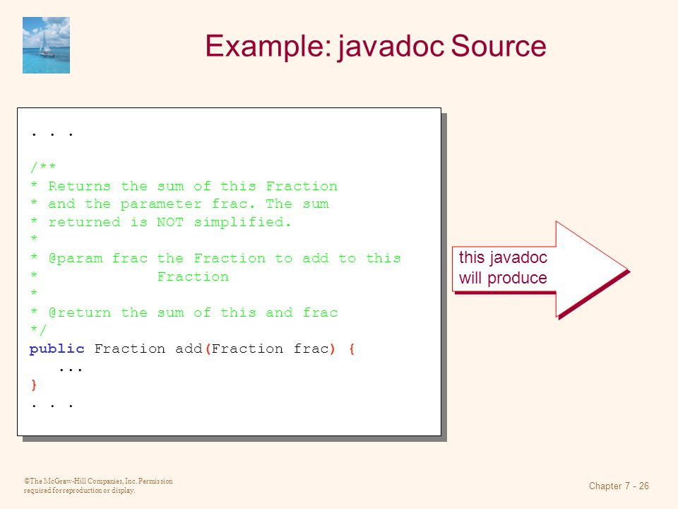 Example: javadoc Source