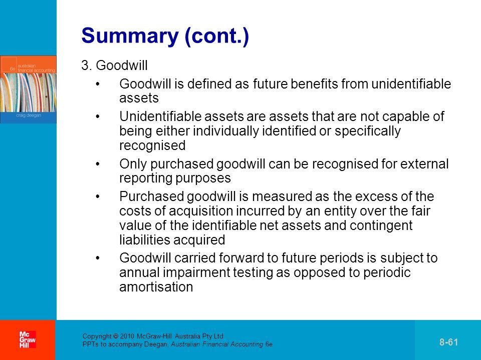 Summary (cont.) 3. Goodwill