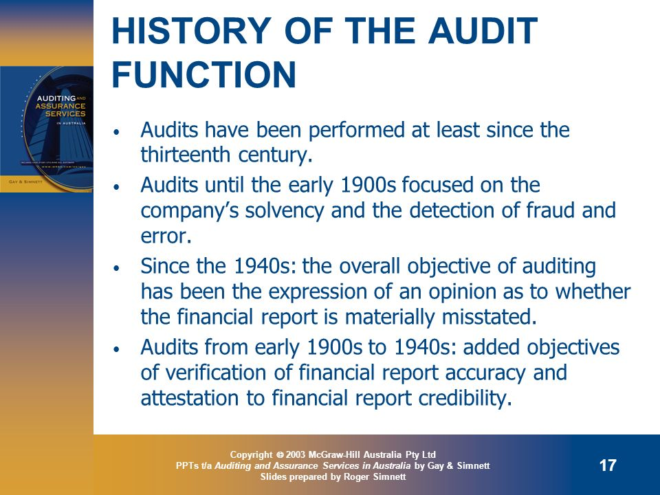 HISTORY OF THE AUDIT FUNCTION