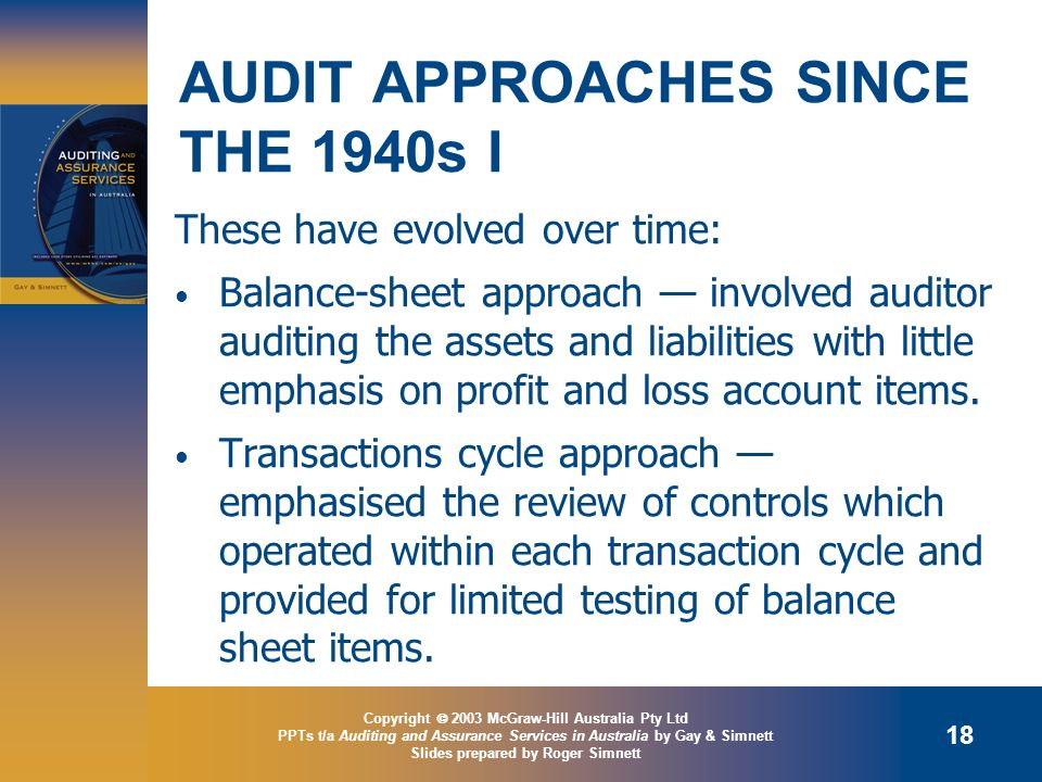 AUDIT APPROACHES SINCE THE 1940s I