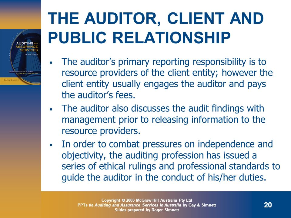 THE AUDITOR, CLIENT AND PUBLIC RELATIONSHIP