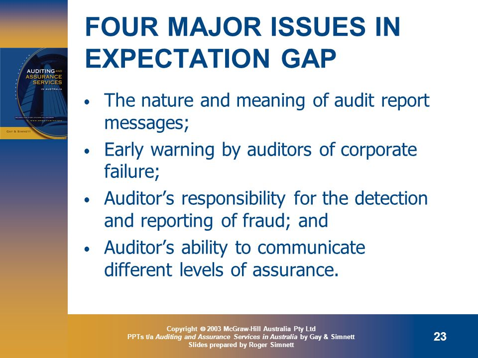 FOUR MAJOR ISSUES IN EXPECTATION GAP