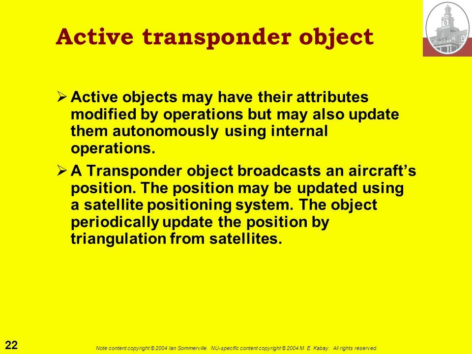 Active transponder object