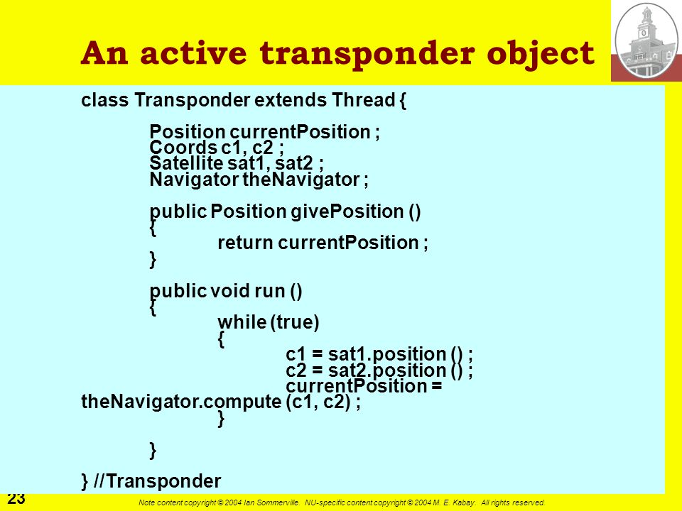 An active transponder object