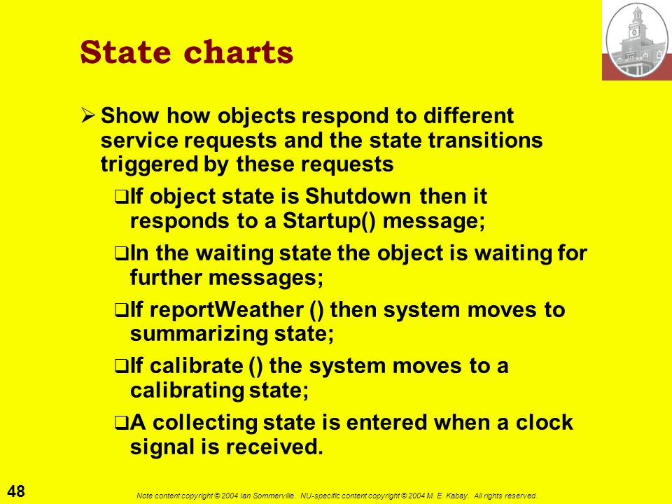 State charts Show how objects respond to different service requests and the state transitions triggered by these requests.