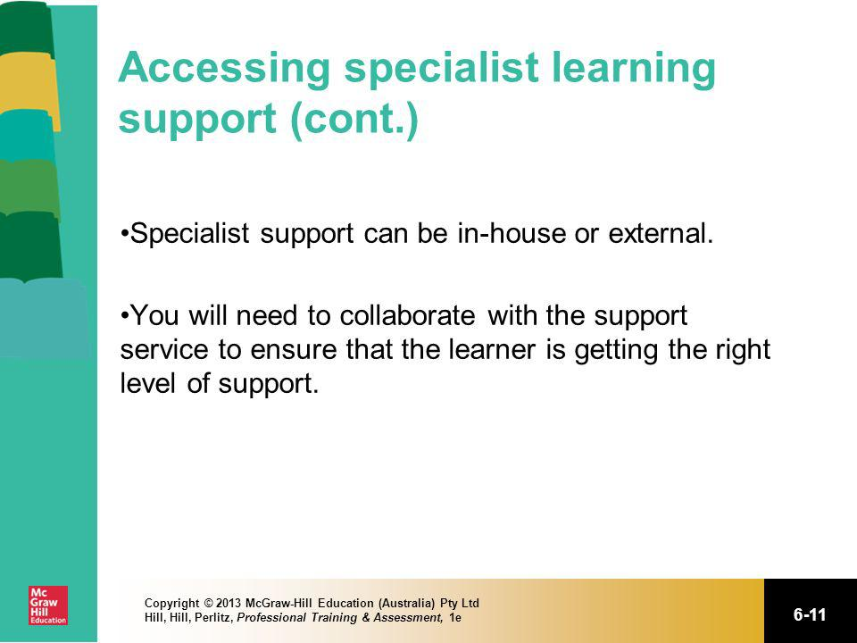 Accessing specialist learning support (cont.)