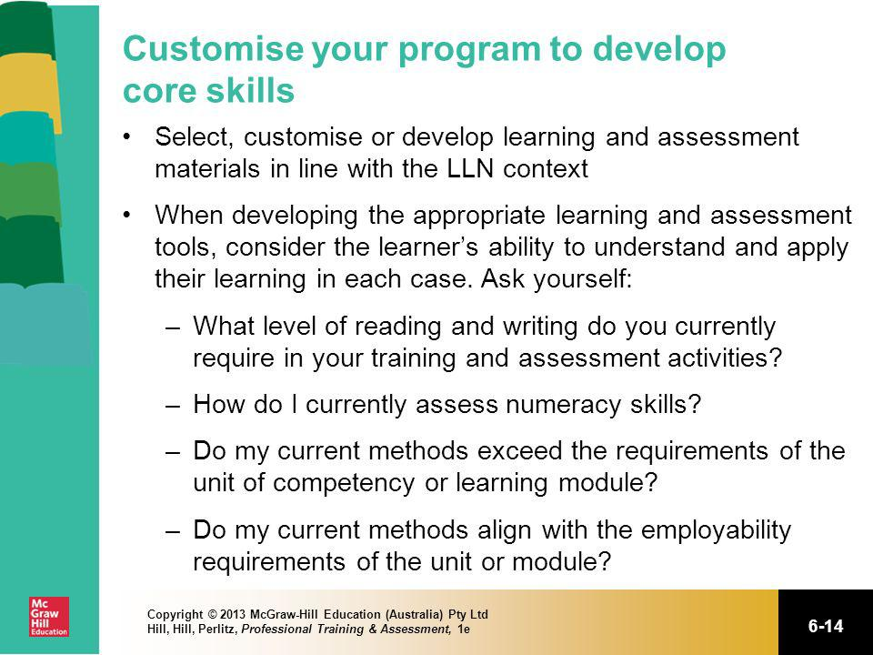 Customise your program to develop core skills