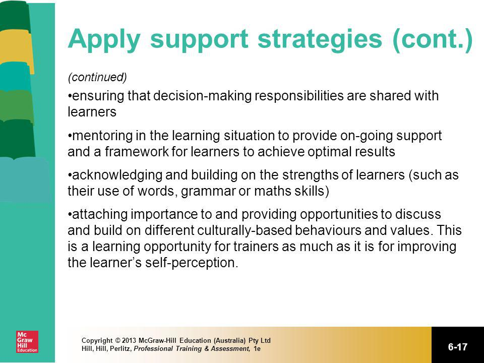 Apply support strategies (cont.)
