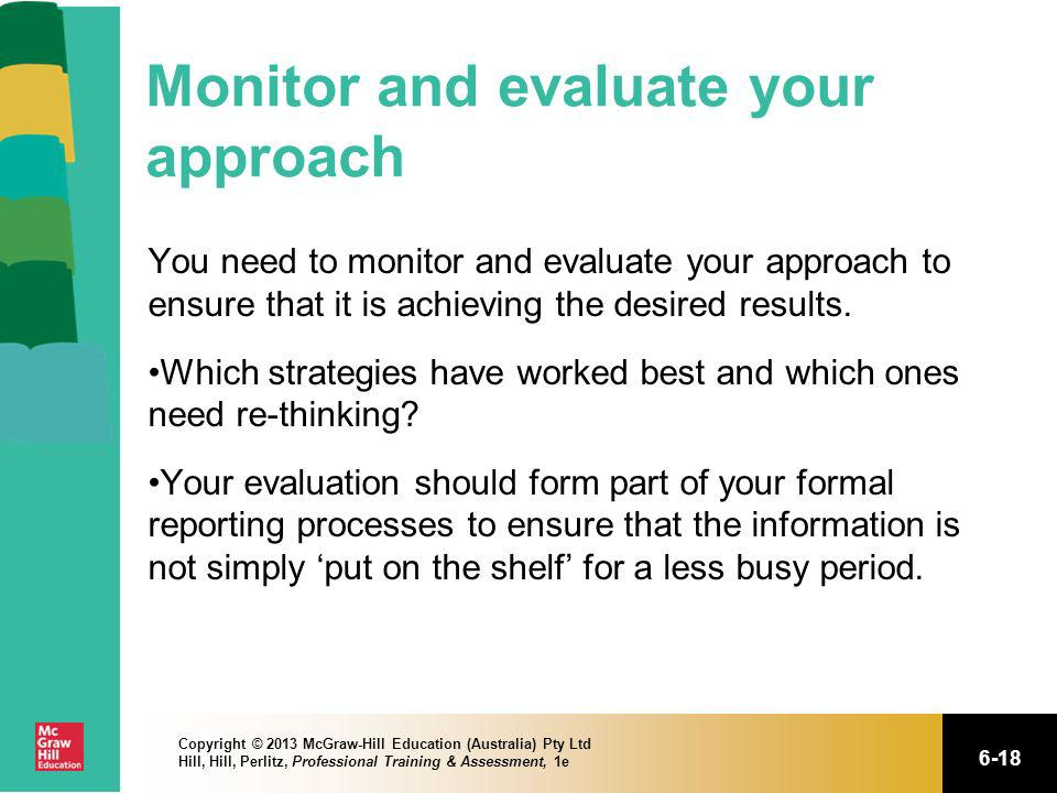 Monitor and evaluate your approach