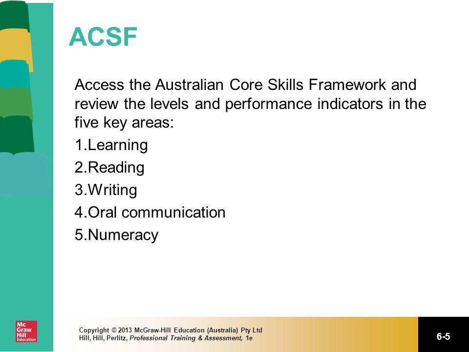 ACSF Access the Australian Core Skills Framework and review the levels and performance indicators in the five key areas: