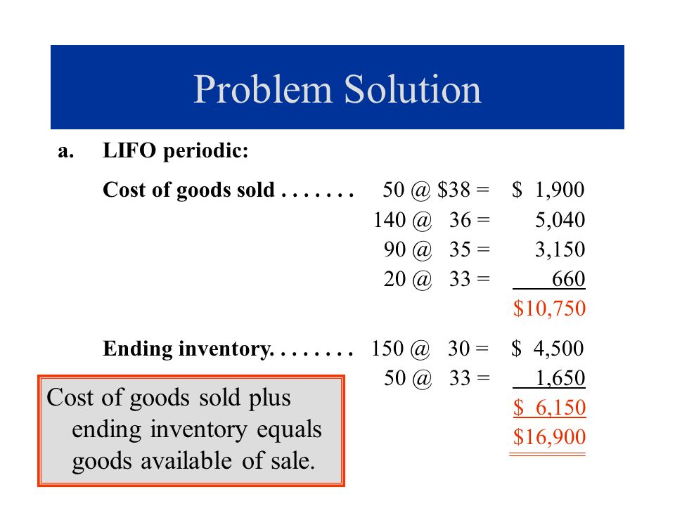 Problem Solution LIFO periodic: Cost of goods sold . . . . . . . 50 @ $38 = $ 1,900. 140 @ 36 = 5,040.