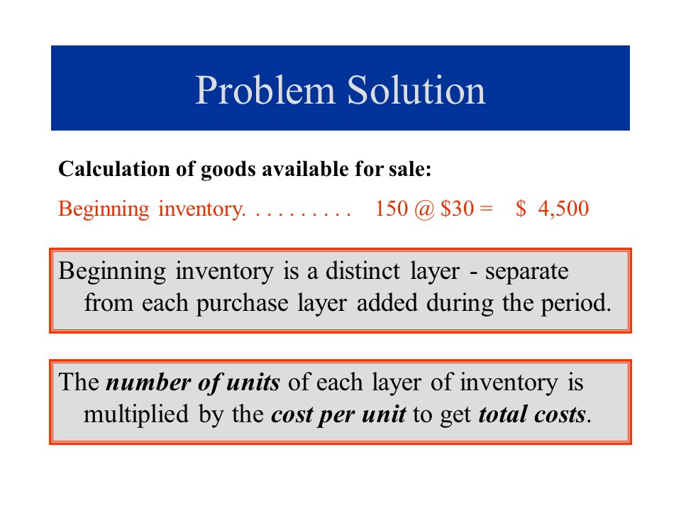 Problem Solution Calculation of goods available for sale: Beginning inventory. . . . . . . . . . 150 @ $30 = $ 4,500.