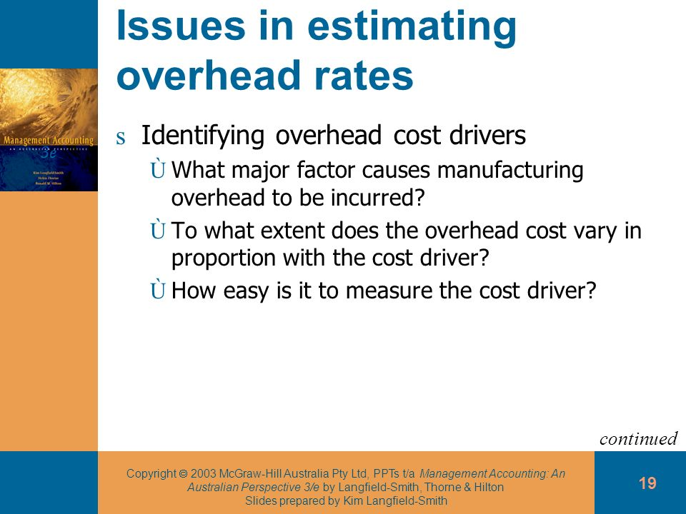 Issues in estimating overhead rates