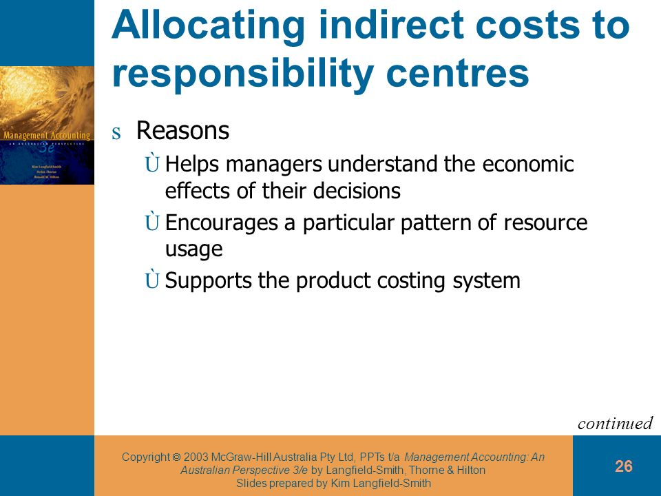 Allocating indirect costs to responsibility centres
