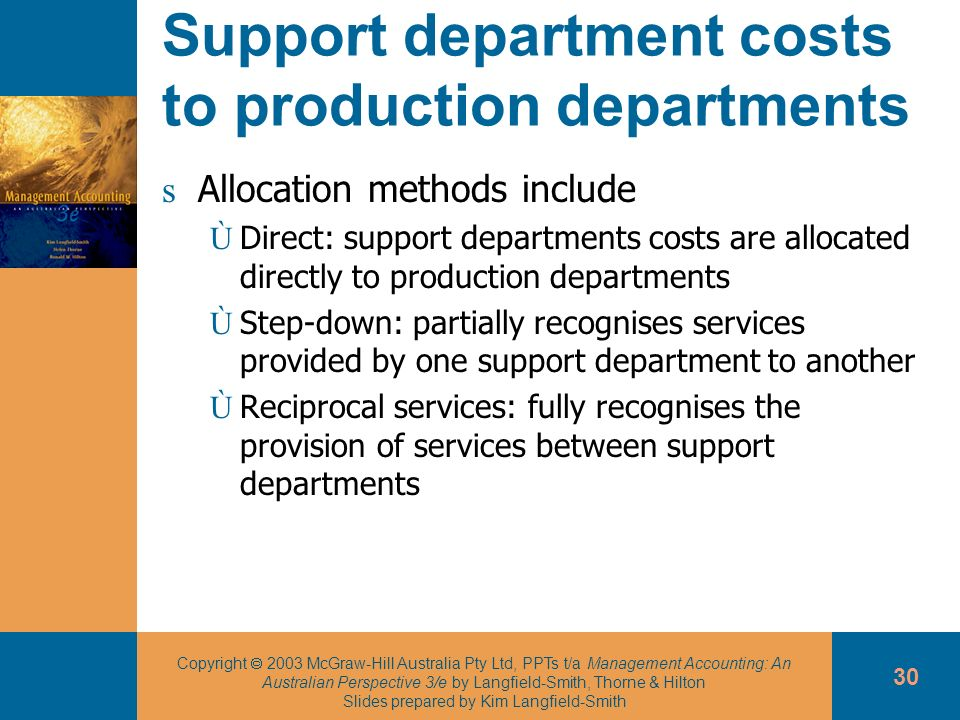 Support department costs to production departments