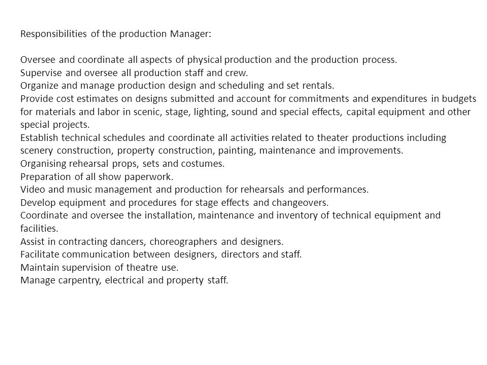 responsibilities of the production manager - Responsibilities Of A Production Manager