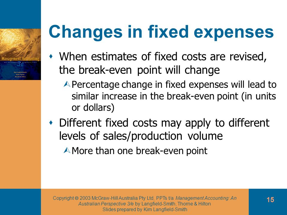 Changes in fixed expenses