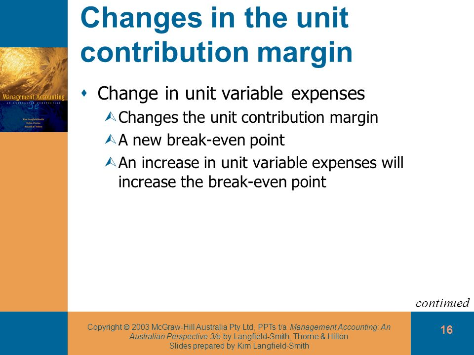 Changes in the unit contribution margin