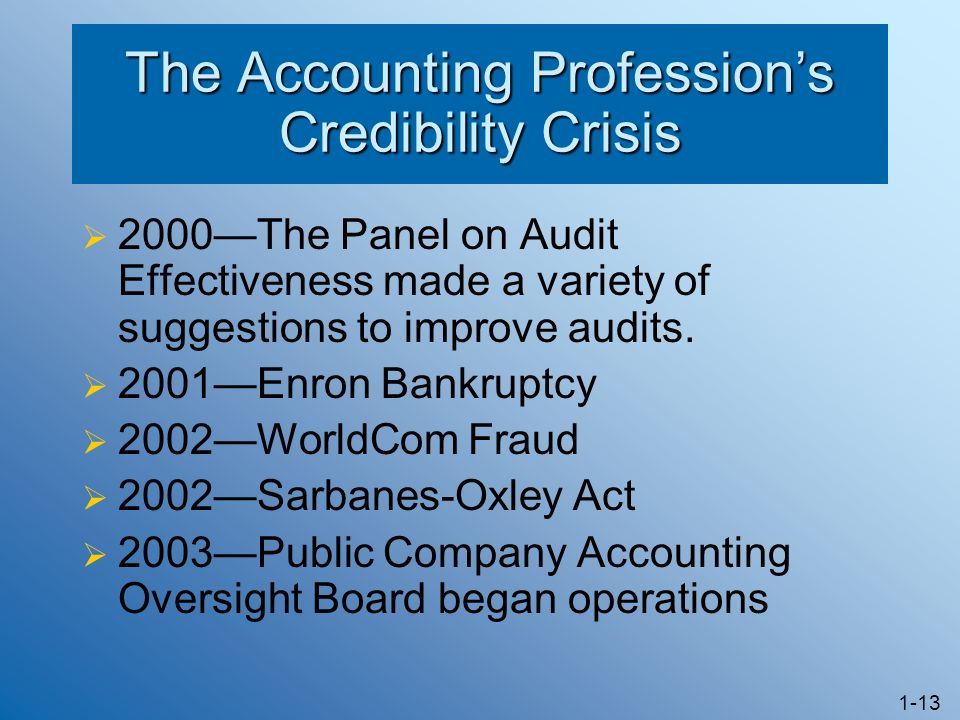 The Accounting Profession's Credibility Crisis