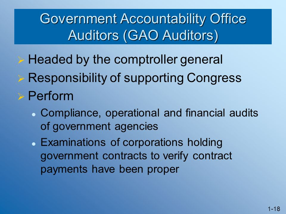 Government Accountability Office Auditors (GAO Auditors)